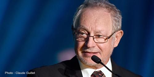 Claude Ménard, président du RPCU de 2007 à 2020, photographié lors de la soirée hommage des Prix RPCU de l'Excellence le 17 octobre 2019 à l'Hôtel Universel à Rivière-du-Loup dans le cadre du congrès annuel du RPCU.