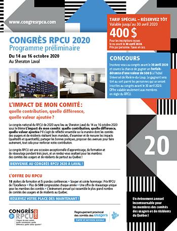Programme du congrès (version 2020, mise à jour à venir)