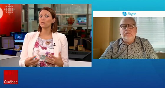 Entrevue de Marc Rochefort, directeur général par intérim du RPCU, au Téléjournal Québec au sujet de la situation à l'Auberge aux Trois Pignons