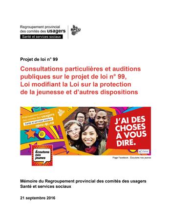 Projet de loi modifiant la Loi sur la protection de la jeunesse