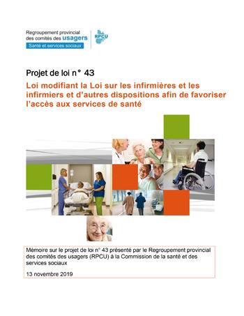 Projet de loi 43 sur les infirmières praticiennes spécialisées