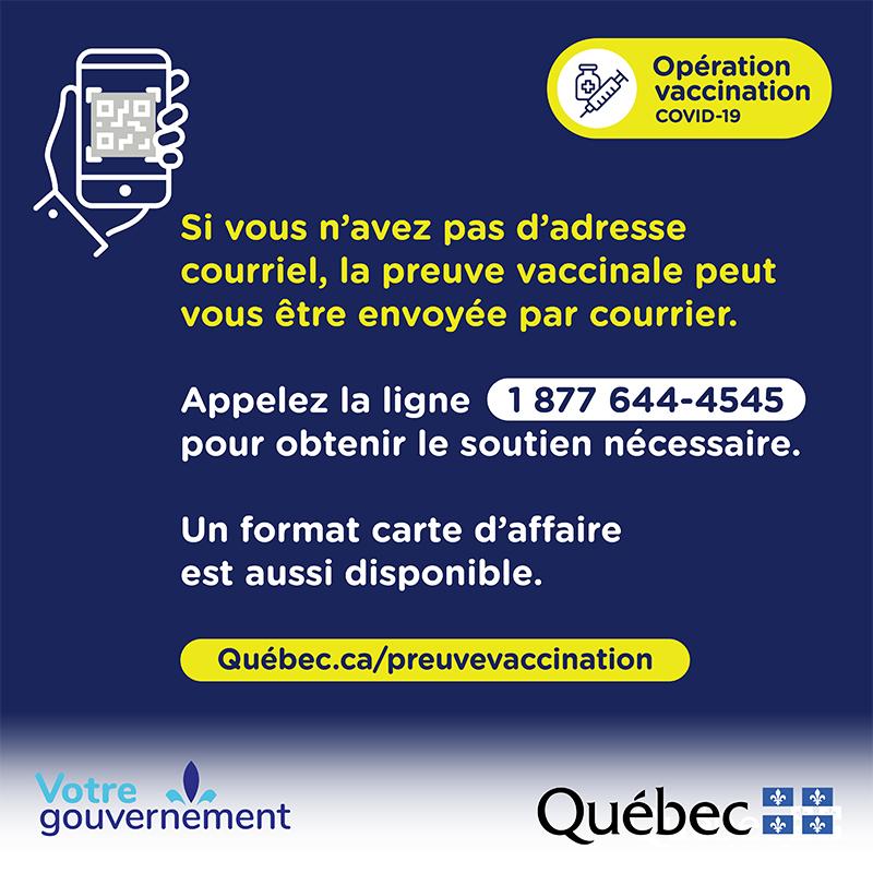 Le passeport vaccinal : un outil officiel et gratuit attestant qu'une personne est adéquatement protégée contre la COVID-19