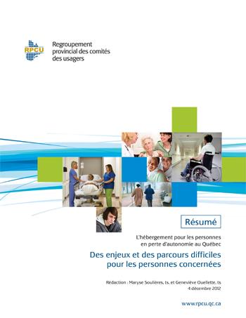L'hébergement pour les personnes en perte d'autonomie au Québec – Résumé
