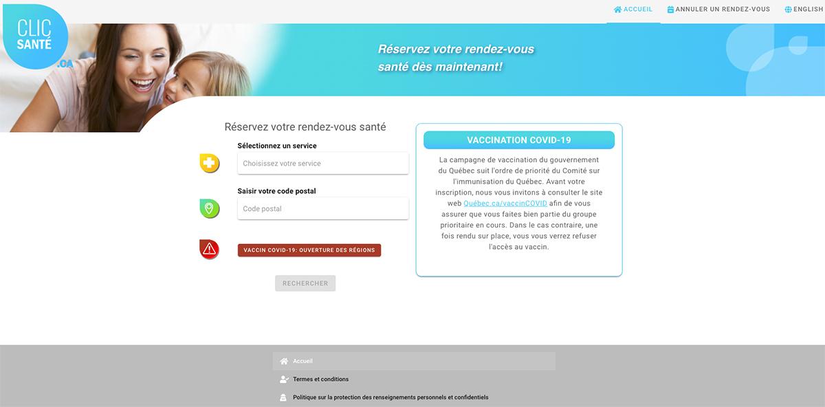 Cliq santé (prise de rendez-vous pour vaccination contre le Covid-19)