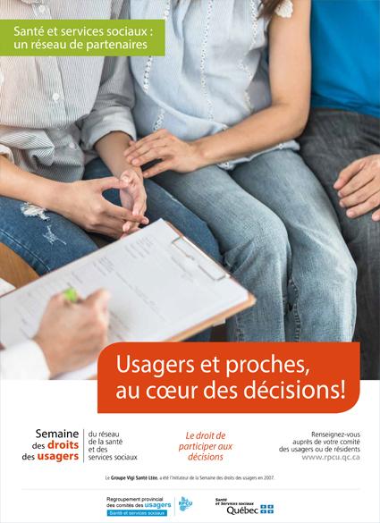Affiche 1 – Semaine des droits des usagers 2019 – Usagers et proches, au cœur des décisions