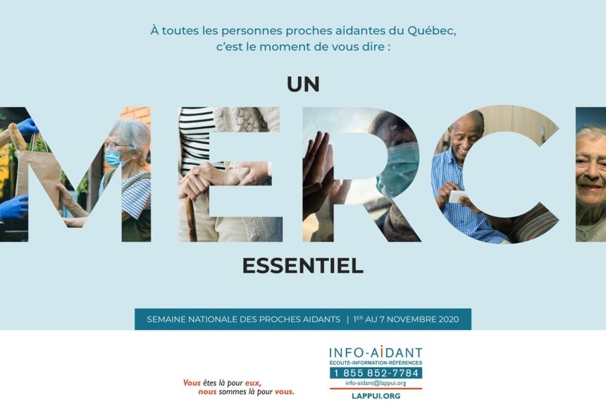 À toutes les personnes proches aidantes du Québec, c'est le moment de vous dire un MERCI essentiel. Image de l'APPUI (lappui.org)